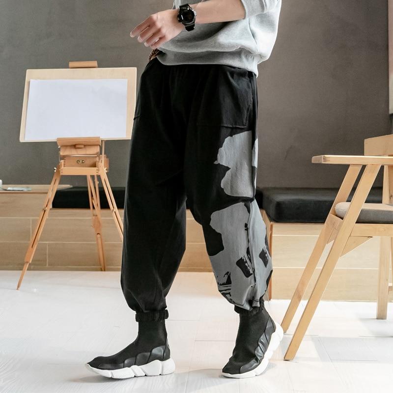 Harem Pants Trousers Men Male Joggers Cotton Linen Chinese-Style Plus-Size Casual Print