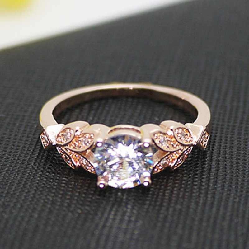 Bague forme feuille bague de mariage classique diamant bague de fiançailles pour femme amour bijoux