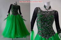 Ballroom Dresses Women New Design Customization Green Color Tango Flamenco Waltz Ballroom Competition Dance Dress