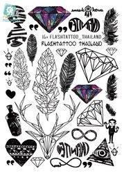 Rocooart A6080-201, большие черные тату, тату, боди арт, Временные татуировки, наклейки, перо, радуга, алмаз, блеск, тату, наклейка