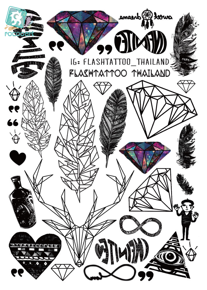 A6080-201 Big Black tatuagem Taty Body Art Temporary Tattoo -tarrat - Tatuoinnit ja body art