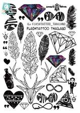 Rocooart A6080 201 Big Black tatuagem Taty Body Art Temporary Tattoo Stickers Feather Rainbow Diamond Glitter