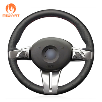 цена на MEWANT Black Artificial Leather Car Steering Wheel Cover for BMW Z4 E85 (Roadster) 2003-2008 E86 (Coupe) 2005-2008