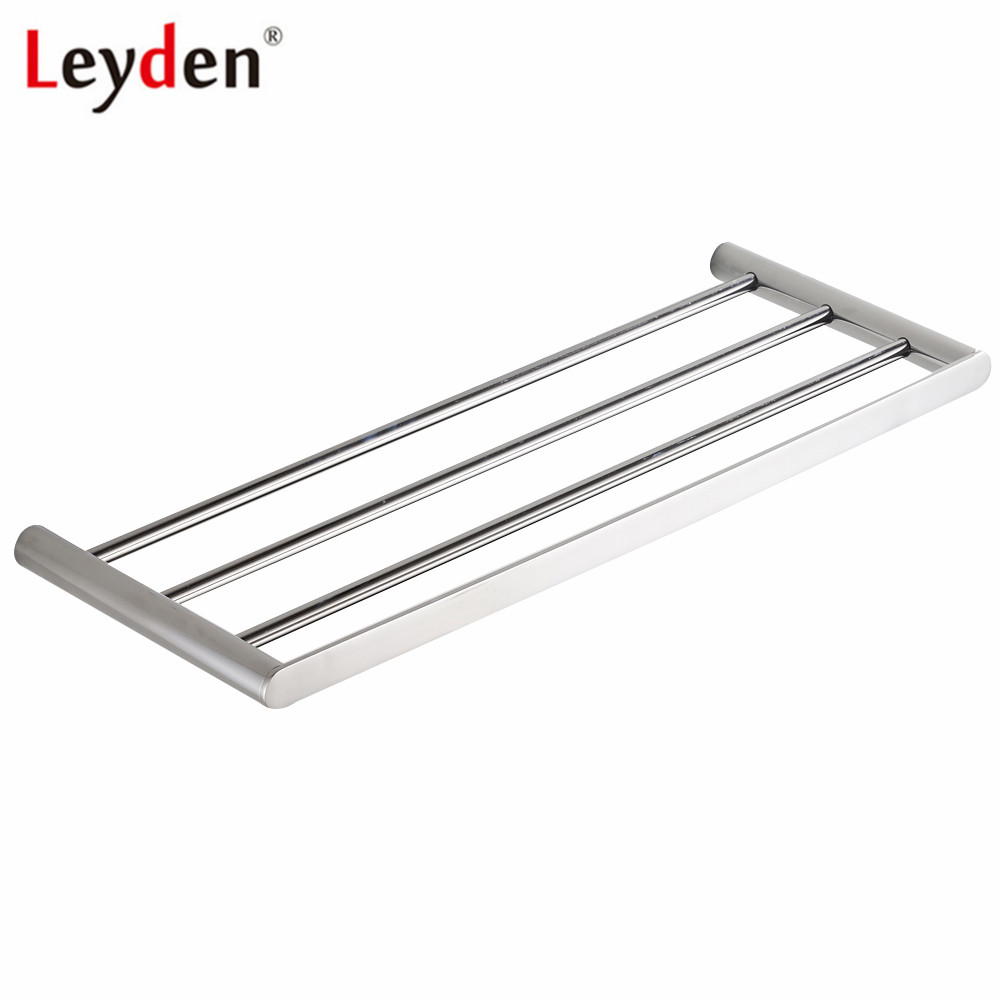 Leyden 304 Stainless Steel Chrome Brushed Towel Shelf 60 cm Wall Mounted Single Layer Towel Rack Holder Bathroom Accessories-in Towel Racks from Home Improvement    1