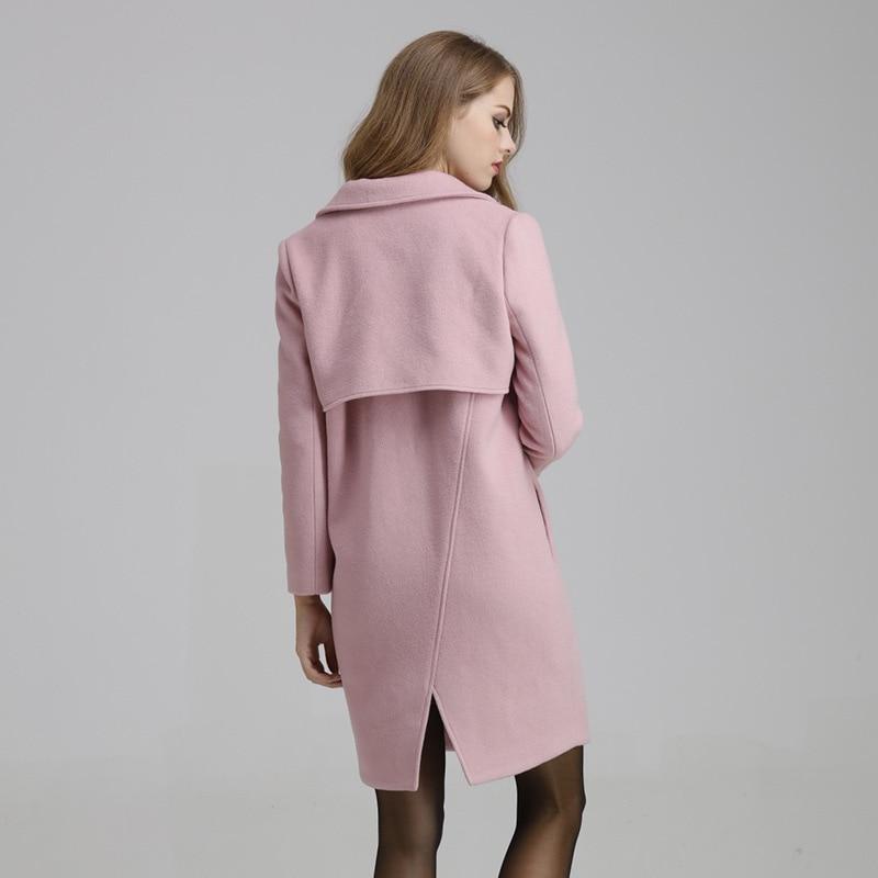 2017 Women Wool Coat Pink Winter Coats For Female Plus Size Long ...