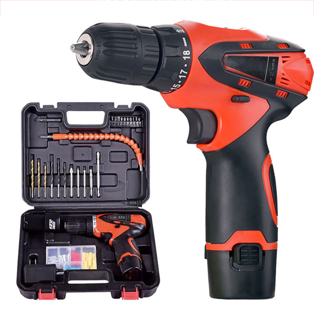 Cordless Hammer Drill Kit Power Tool Sets Battery Cordless Drill Driver Power Tools Set Screwdriver Electric Drill Kit Tool Sets drill buddy cordless dust collector with laser level and bubble vial diy tool new