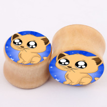 cute dog aliexpress new explosion real wood bones ear piercing jewelry earrings expansion PLUG tunnel body jewelry