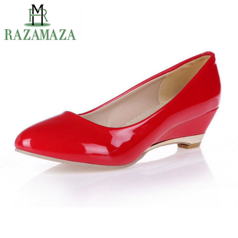 ZALAVOR Shoes Women Wedges Pumps Office Sexy Solid-Color Patent Size-28-52 Lady