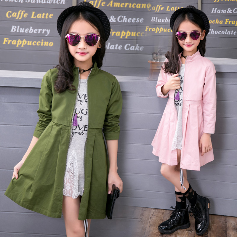 2019 Kids 4-12 Year Wind Coats Children Outerwear Fashion Girls Long Sleeve Red Pink Army Green   Trench   Coat for Girls Trenchcoat