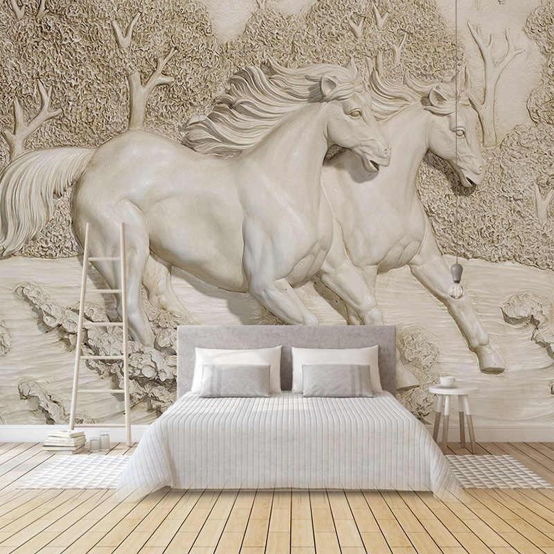 カスタム任意のサイズ壁画壁紙 3D エンボス加工白馬壁紙リビングルームのベッドルームのソファテレビ家の装飾背景壁画