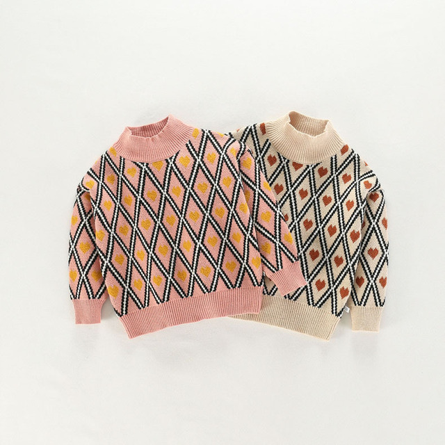 4b866af0b Kids Sweaters Boys Plaid Sweaters Children Pullover Autumn Baby Girls  Knitted Top Child Heart Turtleneck Sweater Winter Clothes