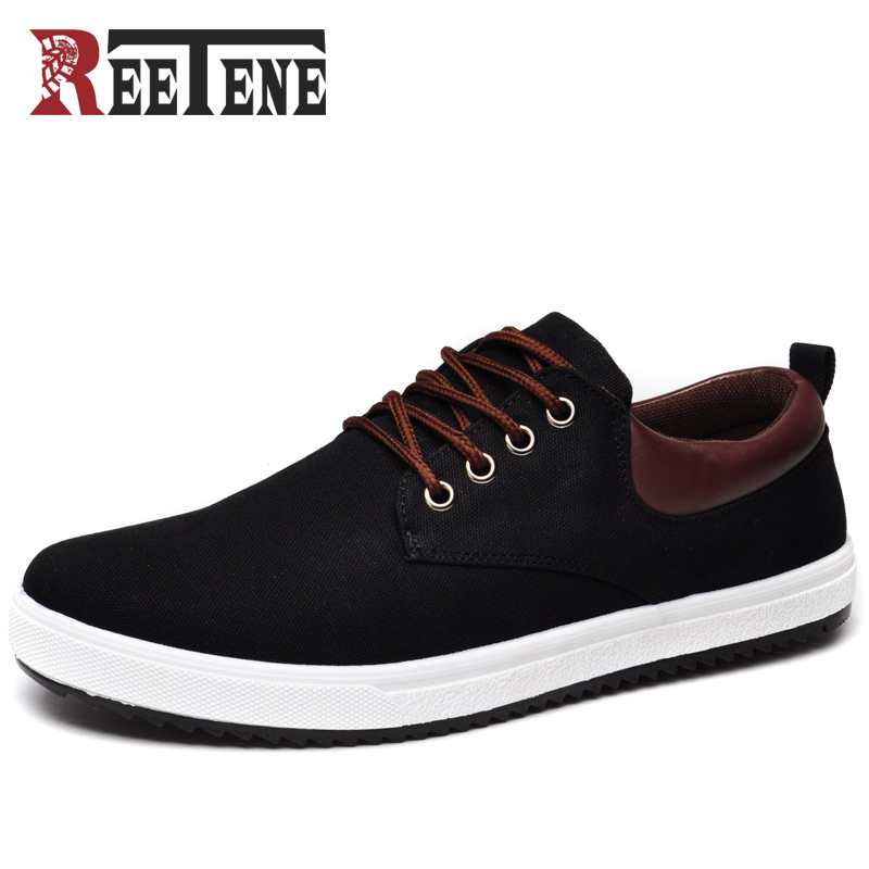REETENE New Arrival Canvas Shoes For Men Spring Summer Comfortable Casual Shoes Mens Fashion Lace-Up Brand Flat Loafers Shoes brand new spring casual boys canvas low top shoes slip on mens lightweight canvas shoes for young men fashion flat shoes ac 07