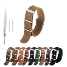 High Quality ZULU Leather Watch Band Nato Strap 18mm 20mm 22mm 24mm Watch Strap With Different Colors Brown Coffee #E wholesale 10pcs lot fabric straps 18mm 20mm 22mm 24mm fabric watch band nato strap short zulu strap watch strap