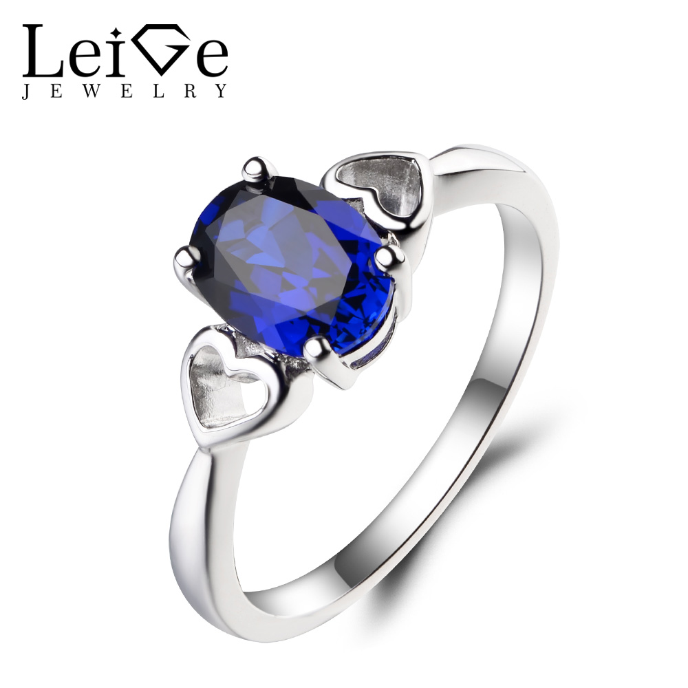 Leige Jewelry September Birthstone Lab Blue Sapphire Ring Engagement Ring Oval Cut Gemstone 925 Sterling Silver Ring for Women leige jewelry oval cut lab blue sapphire promise ring 925 sterling silver ring gemstone september birthstone halo ring for her
