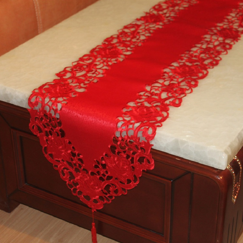 Wedding Table Runner Red Christmas Table Runner Tafelloper Solid Wedding Xmas  Table Runner Camino De Mesa Hollow Tablecloth In Table Runners From Home ...