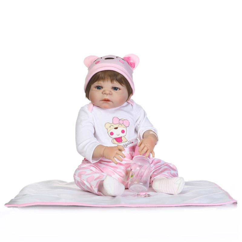 "Lovely real dolls reborn baby girl 22""55cm full silicone baby dolls creative children gift  bebe de silicone inteiro bonecas"