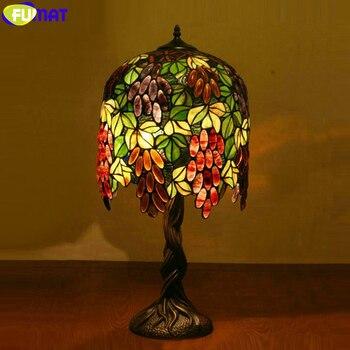FUMAT טיפאני סגנון ויטראז חמניות ענבים גוונים נחושת פסיפס Beses לקשט שולחן מנורות LED מנורת שולחן קלאסי אורות