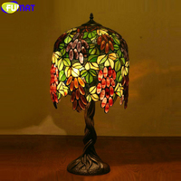 FUMAT Tiffany Style Stained Glass Sunflower Grape Shades Copper Mosaic Beses Decorate Table Lamps LED Desk Lamp Classical Lights