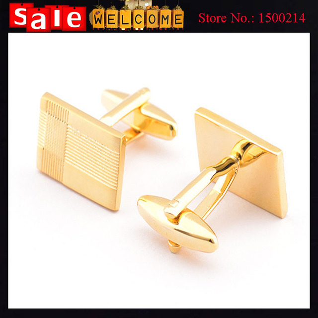 Gold Plated Indian Jewelry Stripes Rectangle Cuff Links Men's Shirt Suit Dress Wedding Groom Luxury Cave Nail Cuff Links Gift
