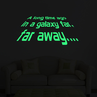 Star Wars A Long Time Ago Vinyl Wall Sticker Glow in the Dark Luminous Wall Decal for Kids Room Bedroom Home Decor LU003