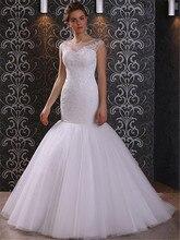 2015 Cap Sleeves Appliqued Lace White Tulle Mermaid Wedding Dress 2015 Elegant Tulle Bridal Dress vestidos de noiva SL-W64