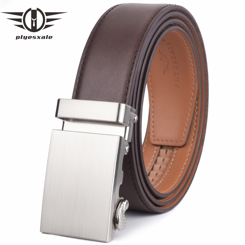 Plyesxale Designer Belts Men High Quality Luxury Automatic Buckle Cowskin Waist Belt Male Strap Classic Leather Formal Belt G49