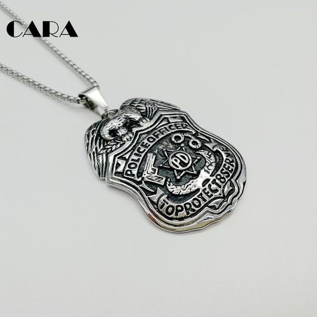 new police pd pendant badge item stainless fashion mens cara eagle steel officer necklace