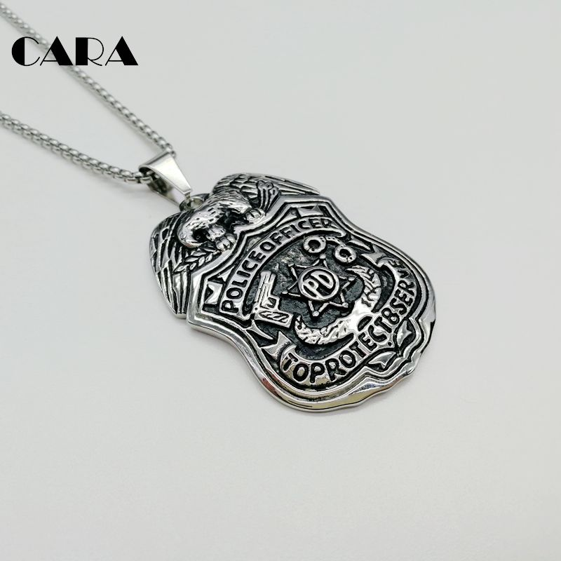 US $11 82 32% OFF|New 316L Stainless steel hip hop Eagle Police PD Badge  pendant necklace mens Officer fashion pendant necklace jewelry CARA0383-in