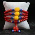 synthetic red cinnabar 6mm 108 beads Multilayer bracelet elephant pendant with blue yellow spacer beads diy bracelet B803