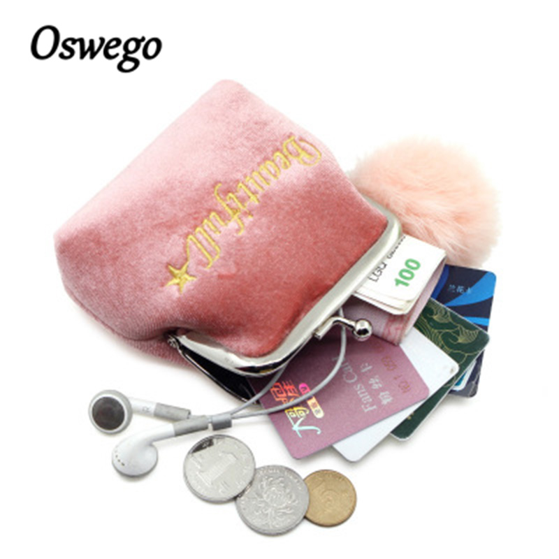 Oswego Mini Coin Purses Letter Velvet Wallets Kiss Clasp Lock Design Small Women Change Purses Popular Fur Coin Pouch For Ladies
