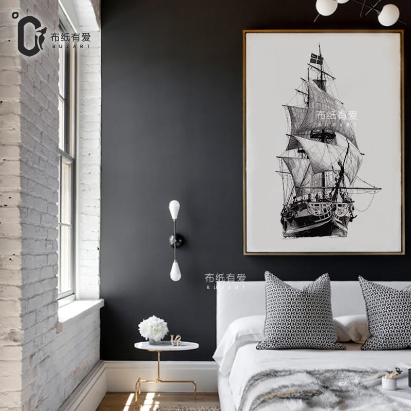 Velká loď Moderní plátno Moderní malba Nástěnná výzdoba krajina Obrázek skica Velké umělecké plátno NE Rám