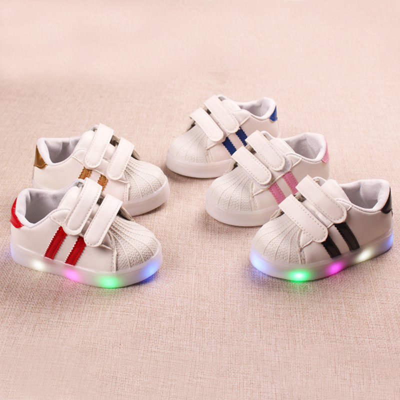 Fashion infant tennis Hook&Loop baby first walkers sports LED lighted girls boys shoes Pu unisex solid baby sneakers footwear toddler baby shoes infansoft sole shoes girl boys footwear t cotton fabric first walkers s01