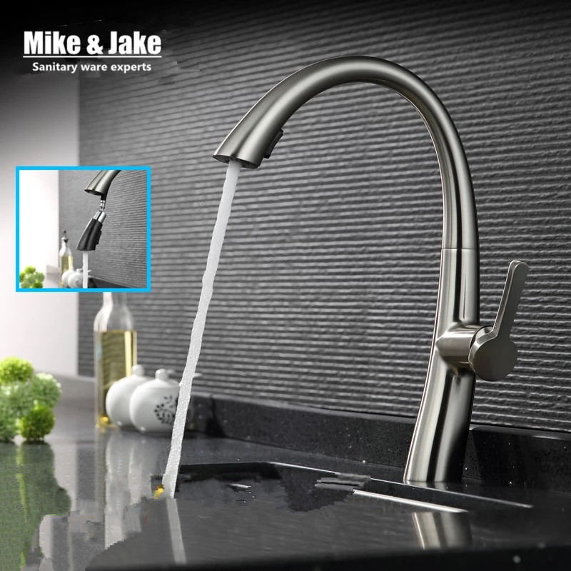 Brush nickel kitchen faucet pull out torneira cozinha nickel kitchen sink faucet mixer kitchen faucets pull out kitchen tap newly arrived pull out kitchen faucet brushed nickel sink mixer tap 360 degree rotation torneira cozinha mixer taps gyd 7117