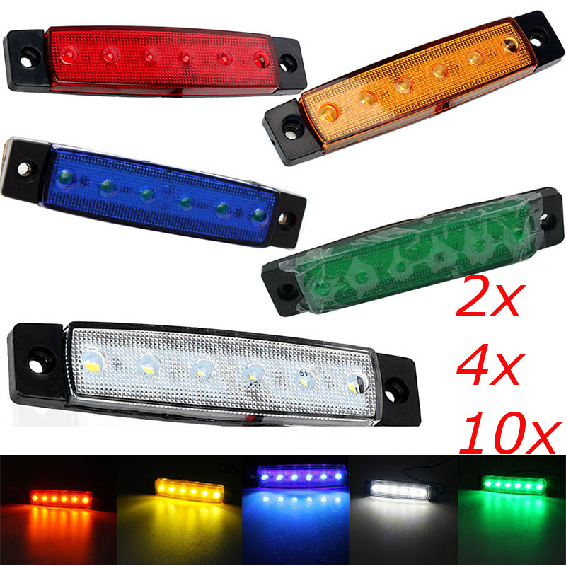 """Pair 5.1/"""" Teardrop Amber LED Side Indicator Marker Clearance Light w// Reflector"""