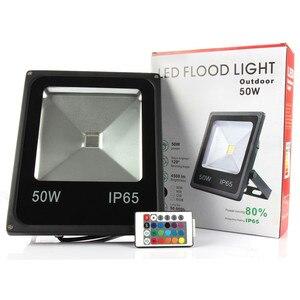 Image 1 - 10pcs Outdoor Light RGB LED Spotlight 10W 20W 30W 50W Led Floodlight Waterproof IP65 Led Reflector AC85 265V Led Lighting