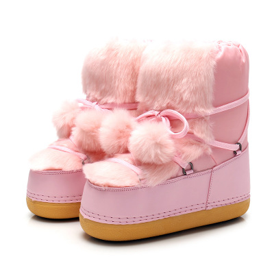 Snow Boots Shoes for Girls Pink Boys mid-calf Boots Dropshipping Soft Bottom Baby Girls Snow Boot Winter Child Boots Space Shoes