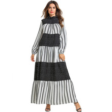 women striped patchwork long dress ruffled sleeve elegant pleated maxi female casual dots boho vestidos