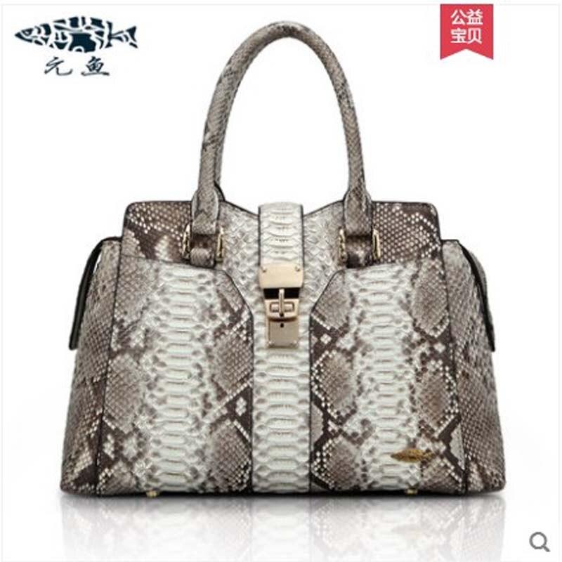 yuanyu New type boa skin female bag, genuine skin snake skin handbag, European and American hand, snake wrist bag, big women bag