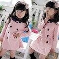 2017 de alta calidad ropa de niños nueva primavera y otoño chicas cruzado dress niños princess girl dress envío gratis