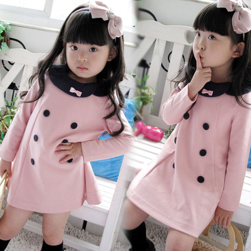 2017 high quality Children clothing new Spring and Autumn girls double-breasted dress children princess girl dress free shipping цена