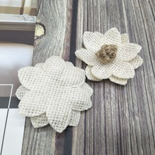 1Pc Handmade Burlap Flowers Vintage hessian Jute Wedding Party Decoration Christmas Supplies Natural color Shabby Chic
