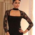Сексуальные кружевные женские топы с длинными рукавами  большие размеры  Бальные топы для латинских танцев  Женская Профессиональная Одежд...