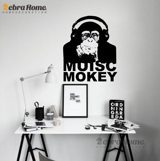 Banks Enjoy Music Monkey Words Vinyl Wall Stickers Study Bedroom Home Decoration Art Mural Wallpaper Infant