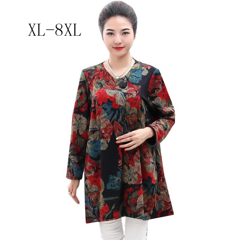 XL-8XL fleur imprimer hauts amples 100% haute qualité printemps femmes rétro Vintage femmes T-shirt grande taille confortable hauts