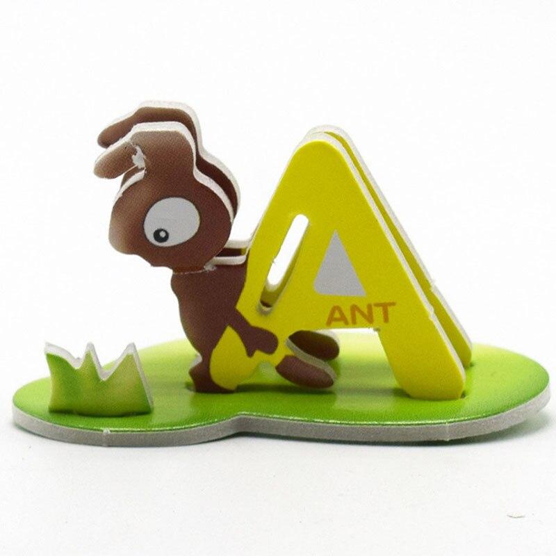 10 шт./компл. ребенок DIY Бумага мультфильм Животные 3D головоломки Паззлы 26 букв алфавита Игрушечные лошадки раннего обучения Малыш игрушка сл...