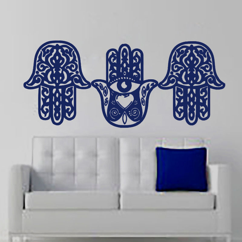Three Hamsa Hand Living Room Wall Stickers Vinyl Removable DIY Home Decor Indian Buddha Art Mural