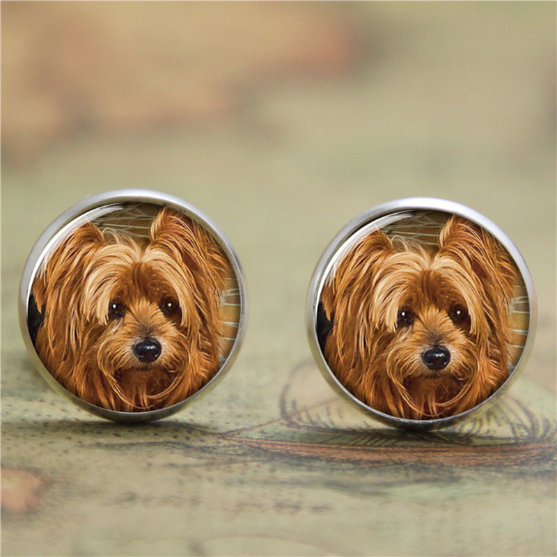 10pairs/lot Yorkie earring, Yorkshire terrier Puppy Gift for Yorkie Lover earring print glass photo dog earring ...