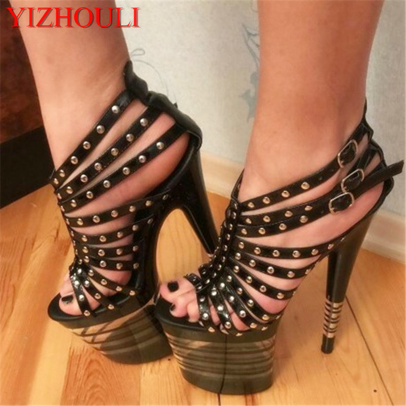 8 inch sexy rivets punk high heels Gorgeous pole dancing Shoes lady's 20cm rome Stripe Platform shoes 20cm pole dancing sexy ultra high knee high boots with pure color sexy dancer high heeled lap dancing shoes