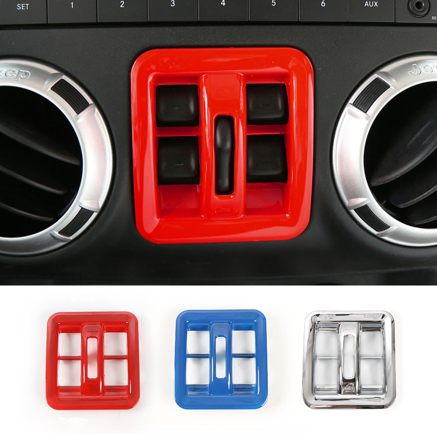 medium resolution of 1pcs new window switch button frame cover trim decoration sticker for jeep wrangler 2011 2016 car styling free shipping