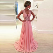 Cheap Evening Dresses 2017 Long New Charmming V-Neck Floor Length Chiffon with Top Lace party Occasion Dresses Robe De Soiree